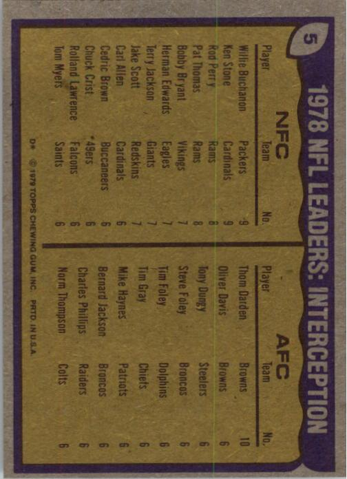 1979 Topps #5 Interception Leaders/Willie Buchanon/Ken Stone/Thom Darden back image