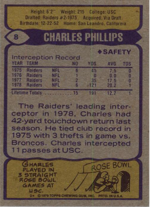 1979 Topps #8 Charles Phillips RC back image