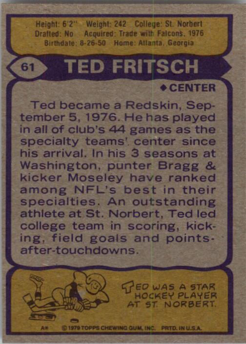 1979 Topps #61 Ted Fritsch Jr. back image