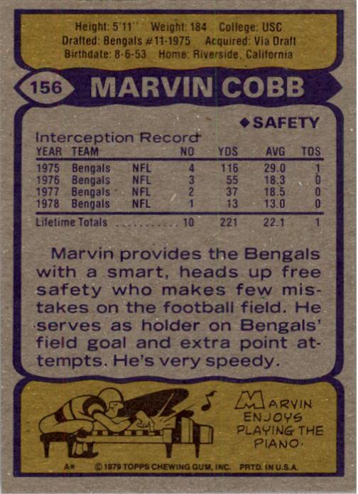 1979 Topps #156 Marvin Cobb back image