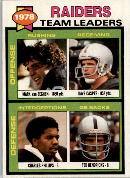 1979 Topps #169 Oakland Raiders TL/Mark Van Eeghen/Dave Casper/Charles Phillips/Ted Hendricks/(checklist back)