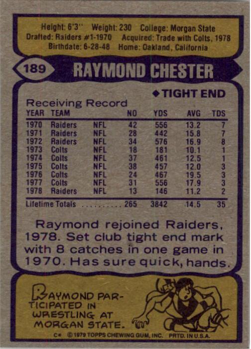 1979 Topps #189 Raymond Chester back image
