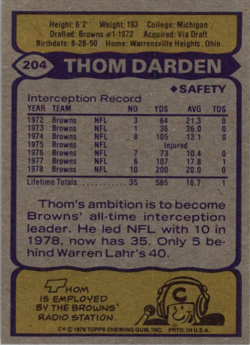 1979 Topps #204 Thom Darden AP back image