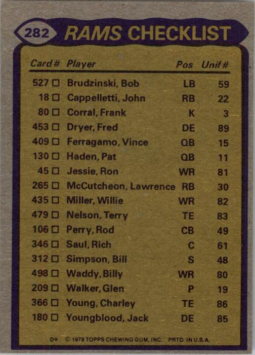 1979 Topps #282 Los Angeles Rams TL/Cullen Bryant/Willie Miller/Rod Perry/Pat Thomas/Larry Brooks/(checklist back) back image