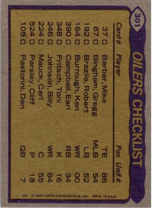 1979 Topps #301 Houston Oilers TL/Earl Campbell/Ken Burrough/Willie Alexander/Elvin Bethea/(checklist back) back image