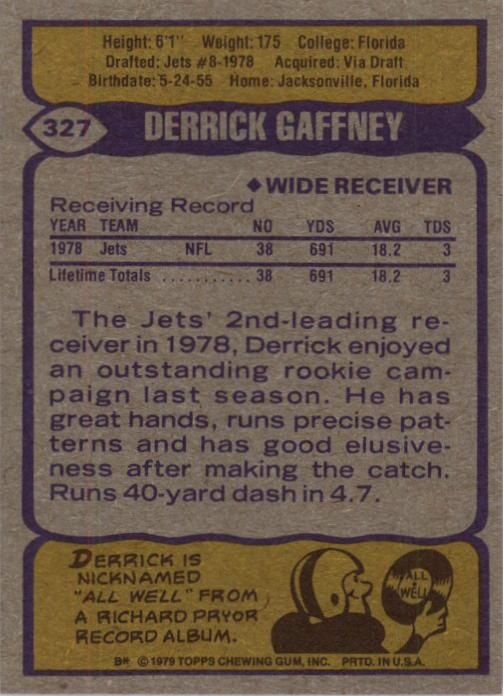 1979 Topps #327 Derrick Gaffney RC back image