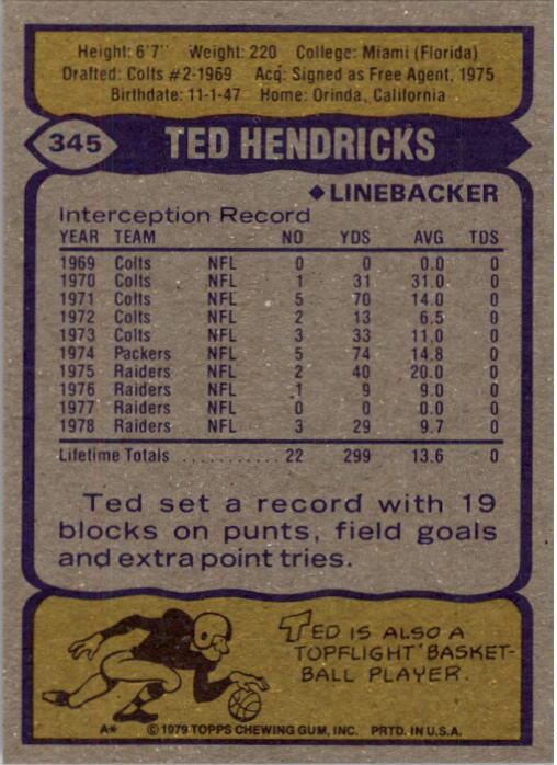 1979 Topps #345 Ted Hendricks back image