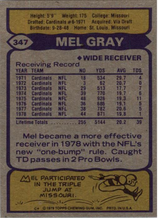 1979 Topps #347 Mel Gray back image