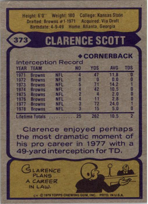 1979 Topps #373 Clarence Scott back image
