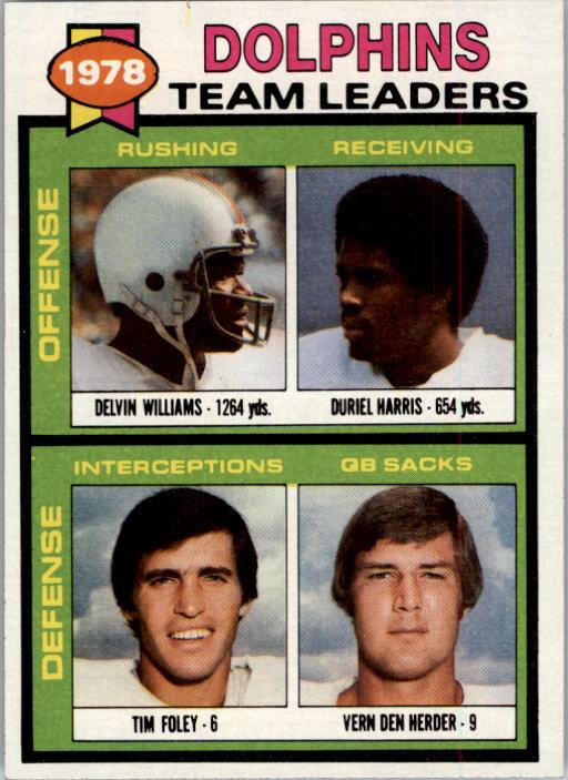 1979 Topps #394 Miami Dolphins TL/Delvin Williams/Duriel Harris/Tim Foley/Vern Den Herder/(checklist back)
