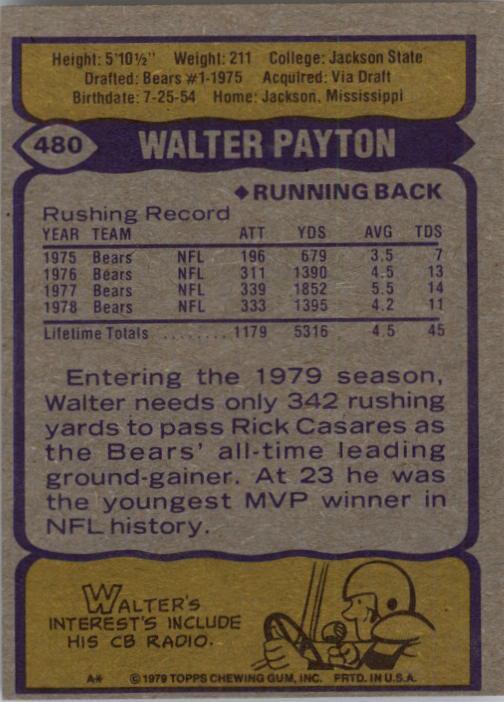 1979 Topps #480 Walter Payton AP back image