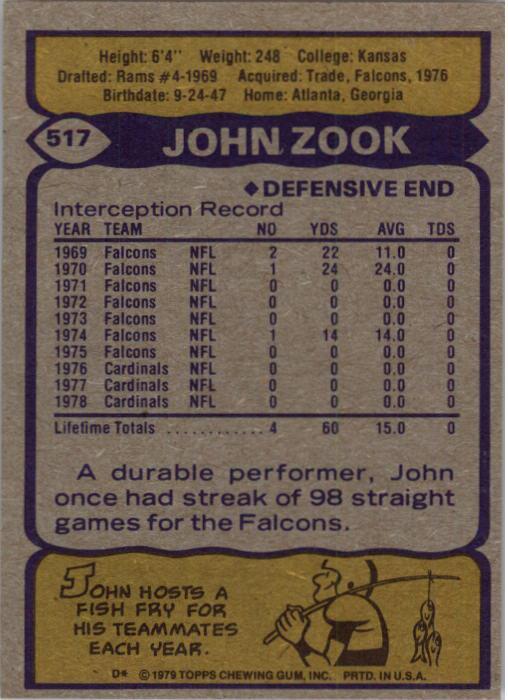 1979 Topps #517 John Zook back image