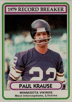 1980 Topps #4 Paul Krause RB/Most Interceptions/Lifetime