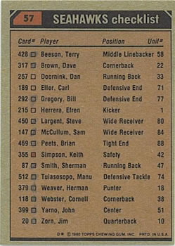 1980 Topps #57 Seattle Seahawks TL/Sherman Smith/Steve Largent/Dave Brown/Manu Tuiasosopo/(checklist back) back image