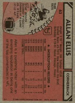 1980 Topps #63 Allan Ellis back image