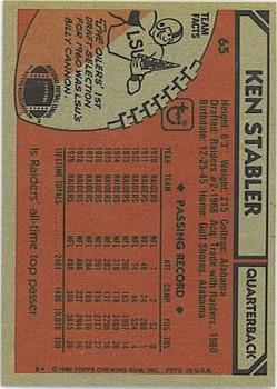 1980 Topps #65 Ken Stabler back image