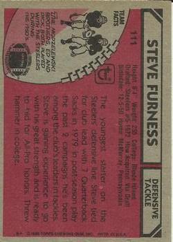 1980 Topps #111 Steve Furness back image