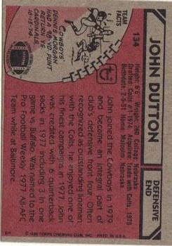 1980 Topps #134 John Dutton back image