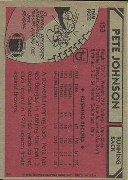1980 Topps #153 Pete Johnson back image