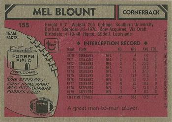 1980 Topps #155 Mel Blount back image