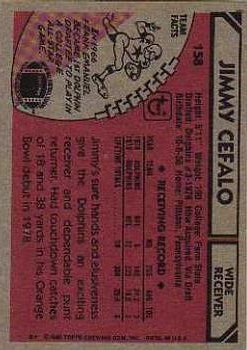 1980 Topps #158 Jimmy Cefalo RC back image