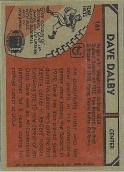 1980 Topps #161 Dave Dalby back image