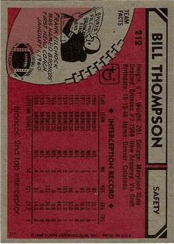 1980 Topps #212 Bill Thompson back image