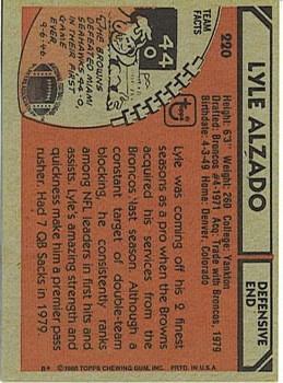 1980 Topps #220 Lyle Alzado back image