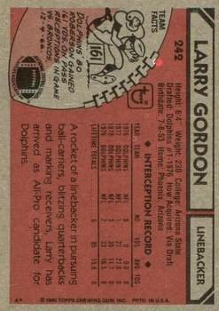 1980 Topps #242 Larry Gordon back image