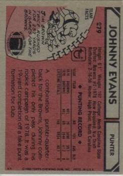 1980 Topps #279 Johnny Evans back image