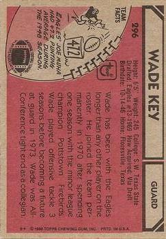 1980 Topps #296 Wade Key back image