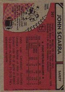 1980 Topps #397 John Sciarra RC back image
