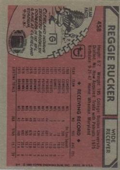 1980 Topps #458 Reggie Rucker back image