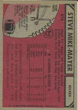 1980 Topps #479 Steve Mike-Mayer back image