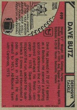 1980 Topps #499 Dave Butz RC back image