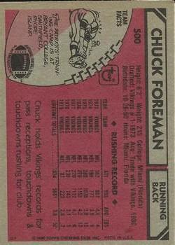 1980 Topps #500 Chuck Foreman back image