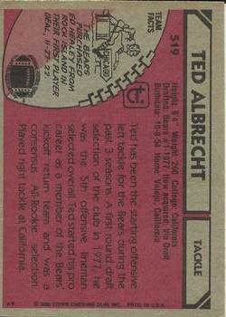 1980 Topps #519 Ted Albrecht back image