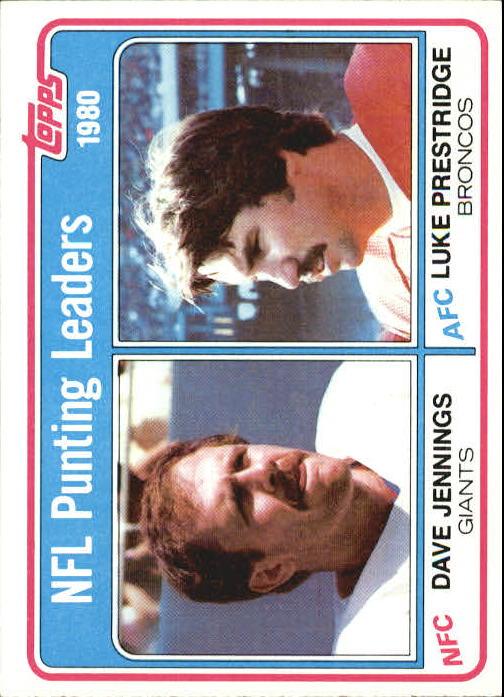 1981 Topps #6 Punting Leaders/Dave Jennings/Luke Prestridge
