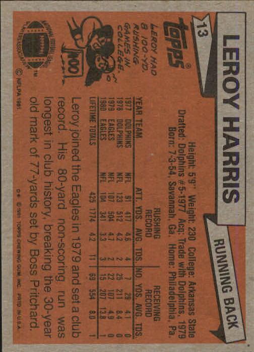 1981 Topps #13 Leroy Harris back image