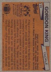 1981 Topps #14 Gordon King back image