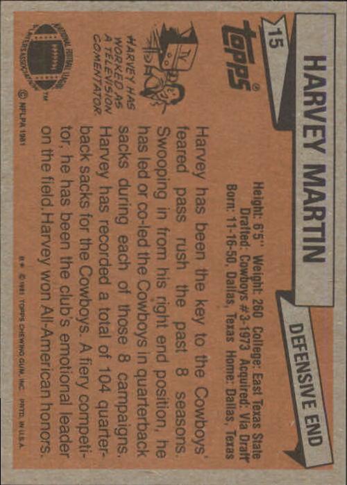 1981 Topps #15 Harvey Martin back image