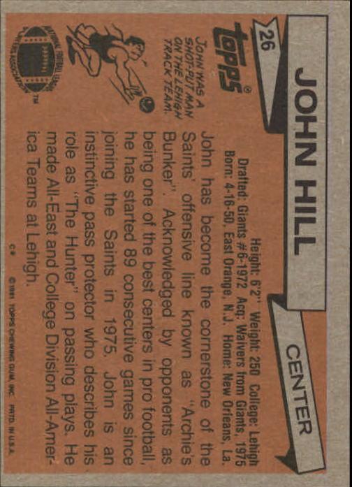 1981 Topps #26 John Hill back image