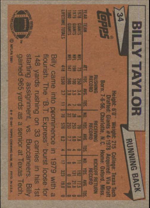 1981 Topps #34 Billy Taylor back image