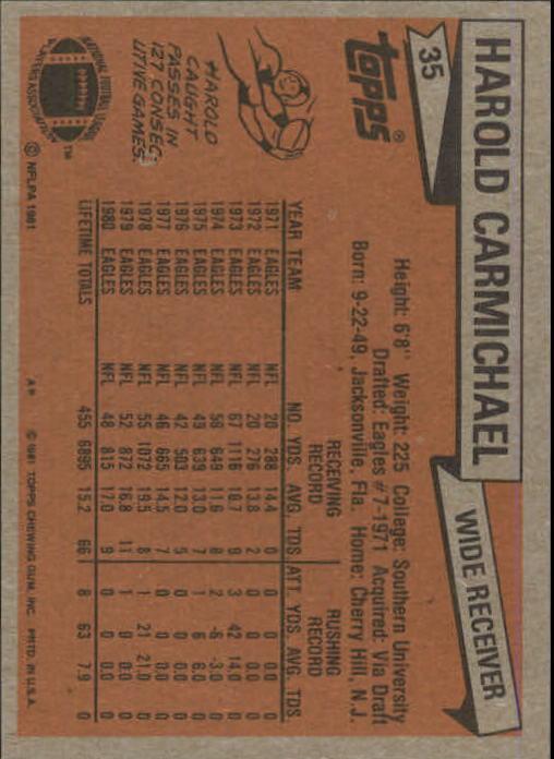 1981 Topps #35 Harold Carmichael back image