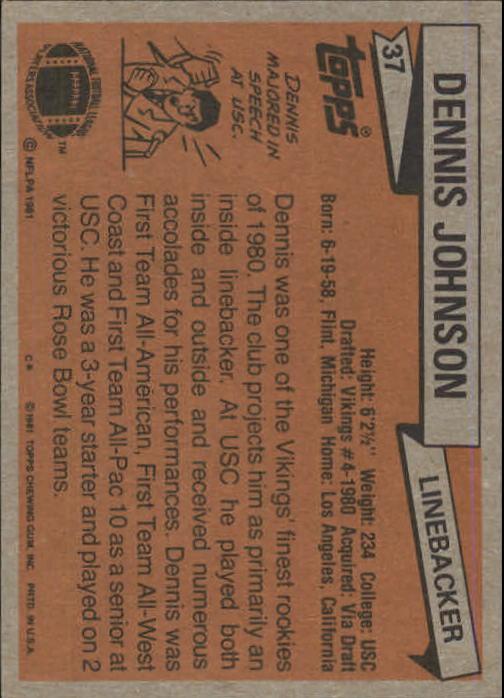 1981 Topps #37 Dennis Johnson LB RC back image