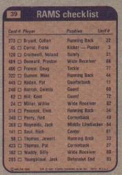 1981 Topps #39 Los Angeles Rams TL/Cullen Bryant/Billy Waddy/Nolan Cromwell/Jack Youngblood/(checklist back) back image