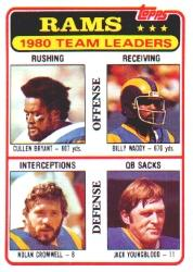1981 Topps #39 Los Angeles Rams TL/Cullen Bryant/Billy Waddy/Nolan Cromwell/Jack Youngblood/(checklist back)