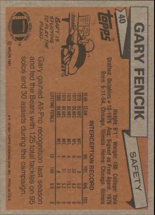 1981 Topps #40 Gary Fencik back image
