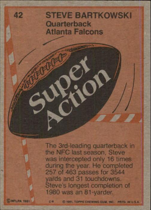 1981 Topps #42 Steve Bartkowski SA back image