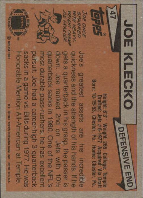 1981 Topps #47 Joe Klecko back image
